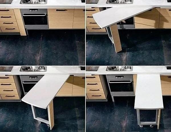 кухонный стол трансформер с выдвижной столешницей