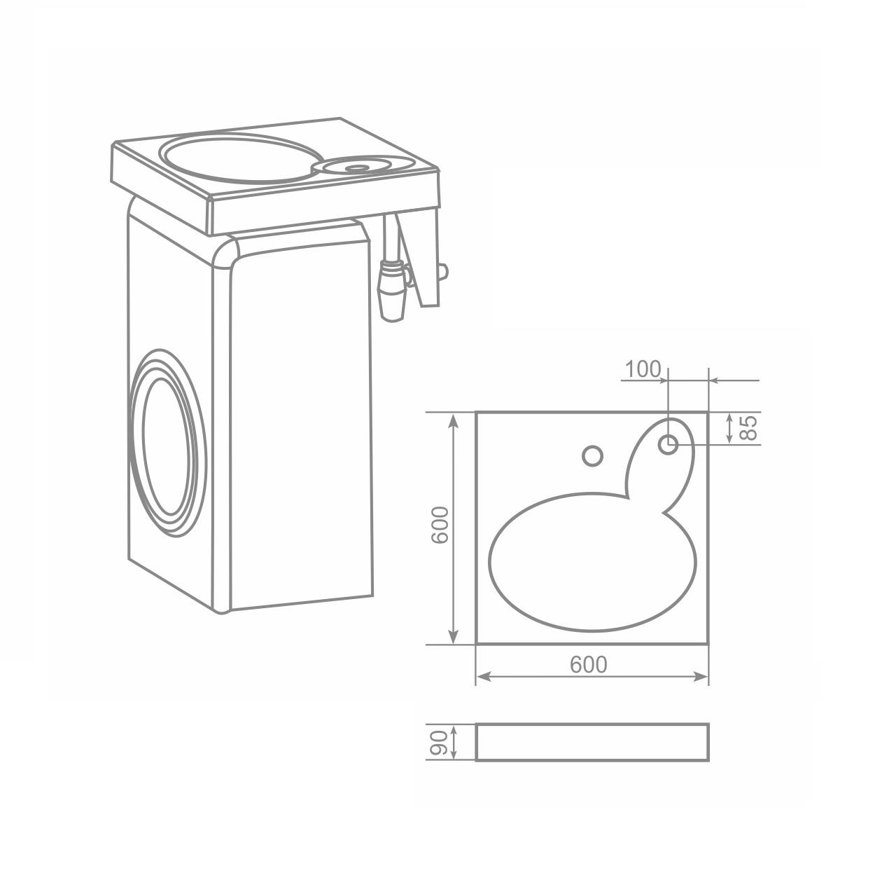 чертеж раковины над стиральной машиной