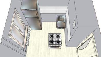 планировка кухни хрущевки с холодильником