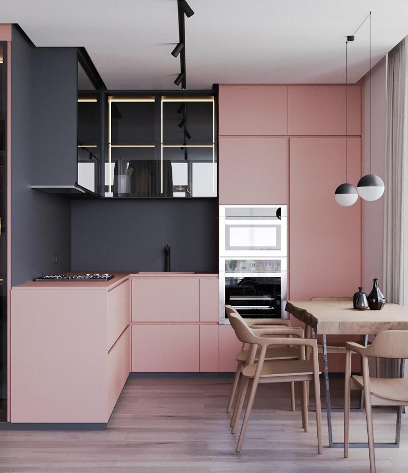 черный розовый цвет в интерьере кухни