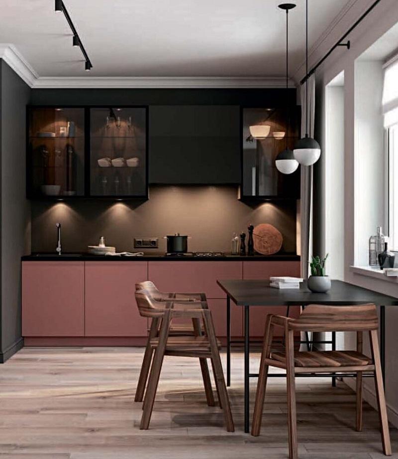 черно розовая кухня лофт