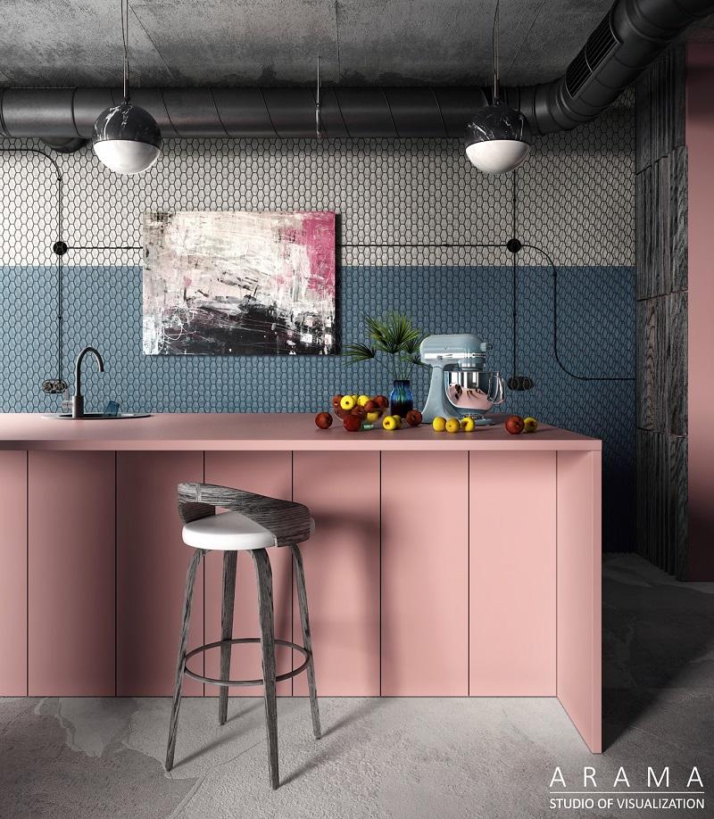 серо розовый цвет в интерьере кухни