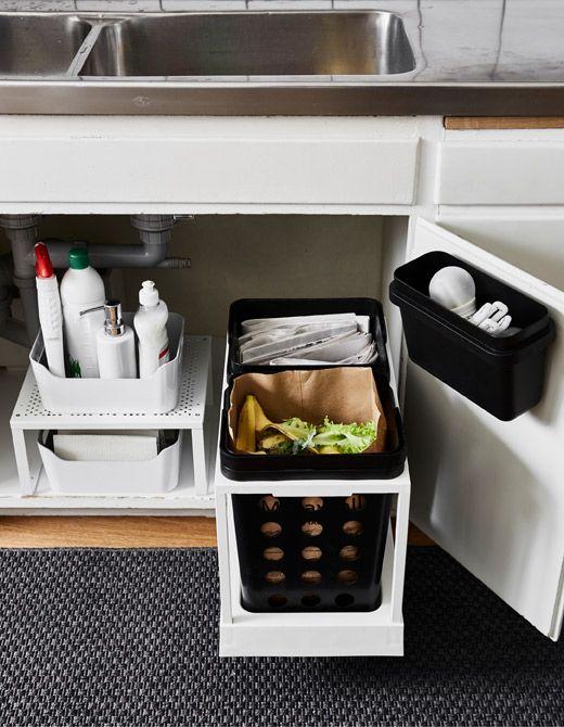 как организовать место под мойкой на кухне