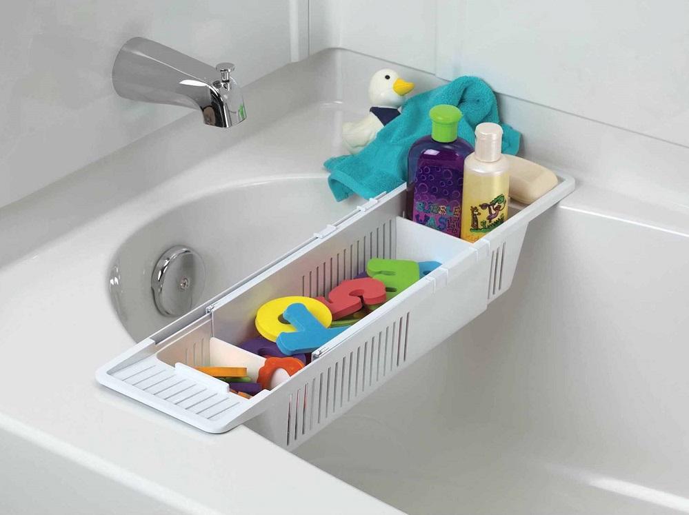 идея хранения игрушек в ванной
