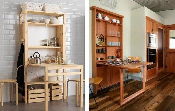 раскладная обеденная зона для маленькой кухни