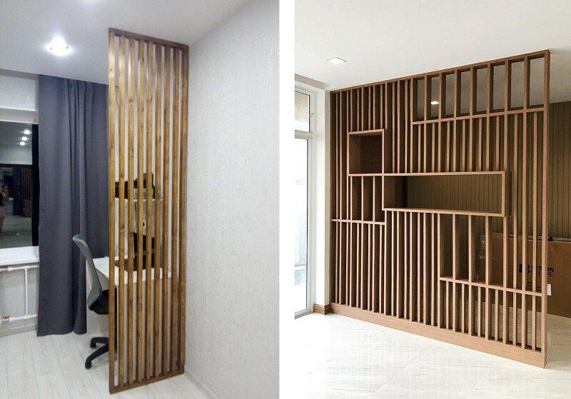 реечные перегородки для зонирования пространства комнаты