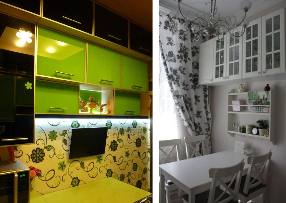 обеденная зона для маленькой кухни с навесными шкафами