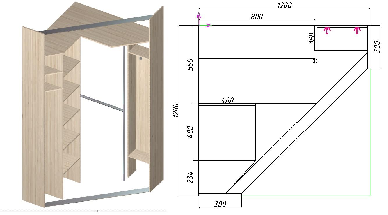 чертеж углового шкафа-купе трапецией