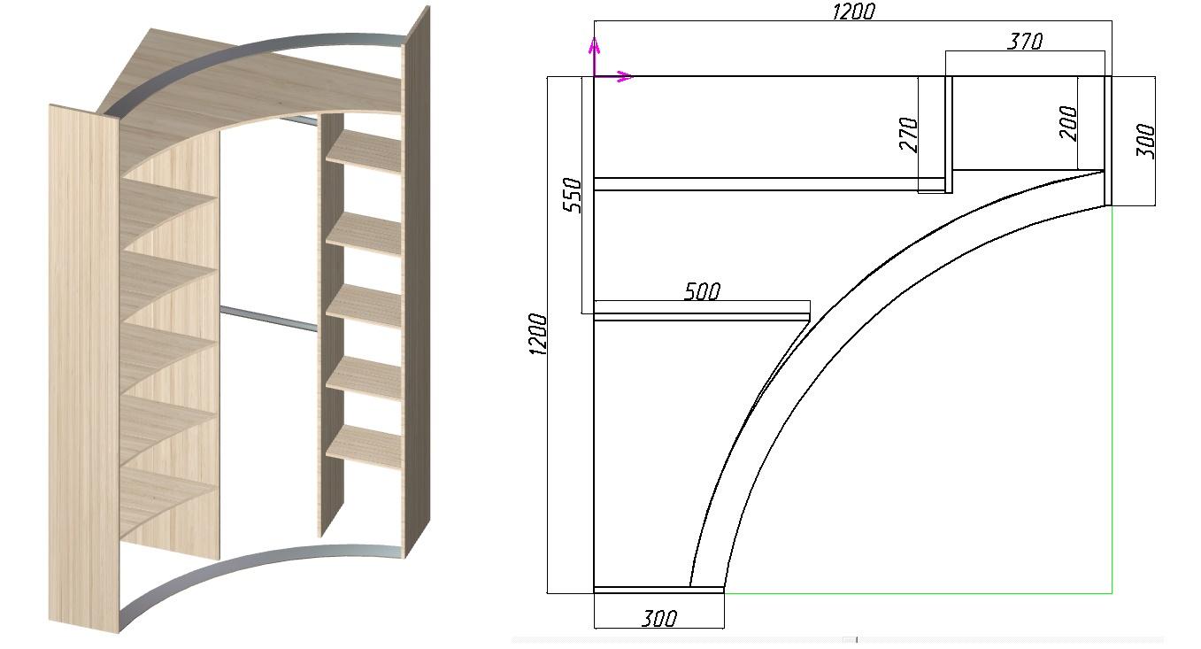 чертеж углового шкафа-купе с радиусными дверьми