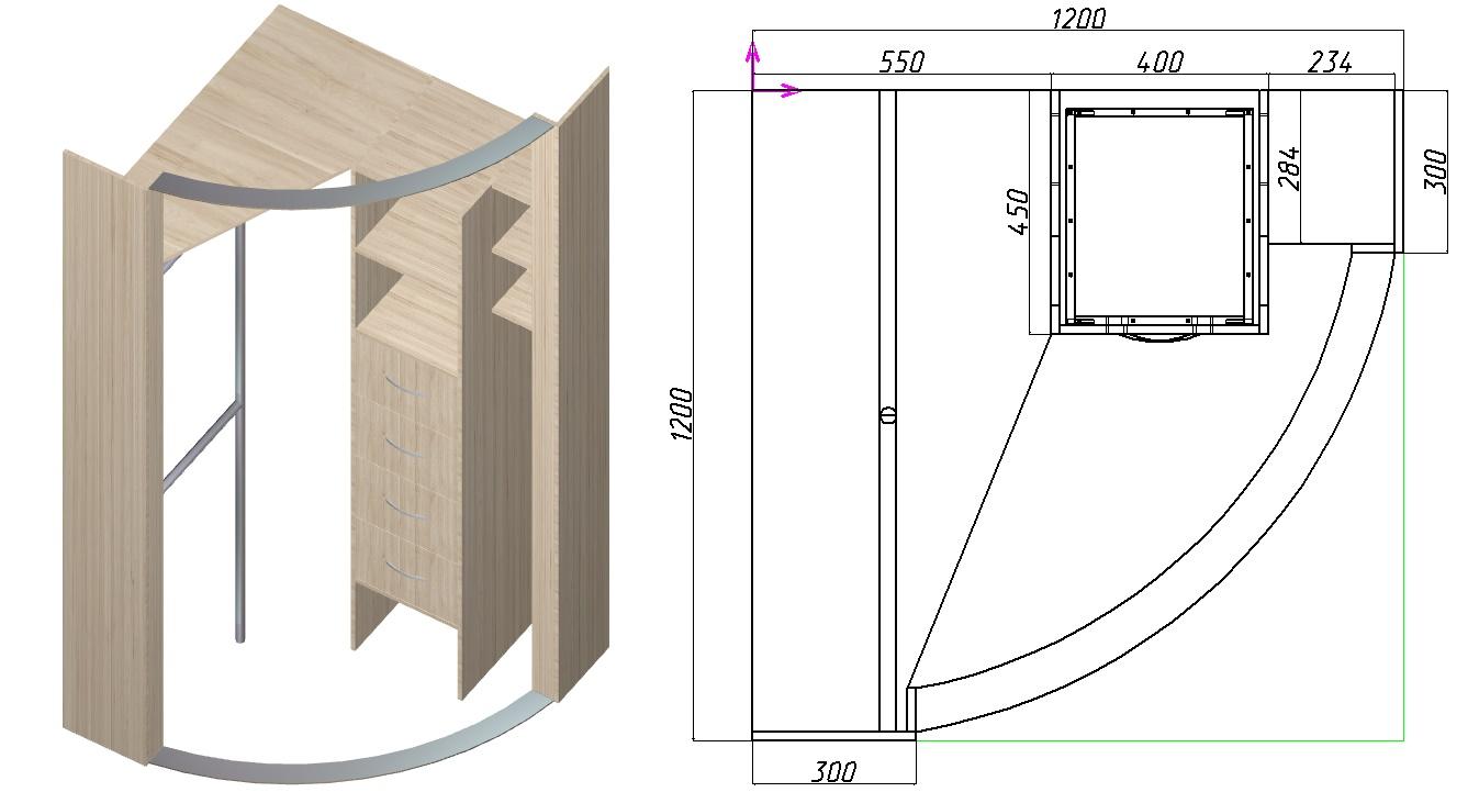 схема углового шкафа-купе с радиусными дверьми